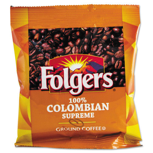 Folgers 84969584 Coffee, 100% Colombian, Ground, 1.75oz Fraction Pack, 42/carton