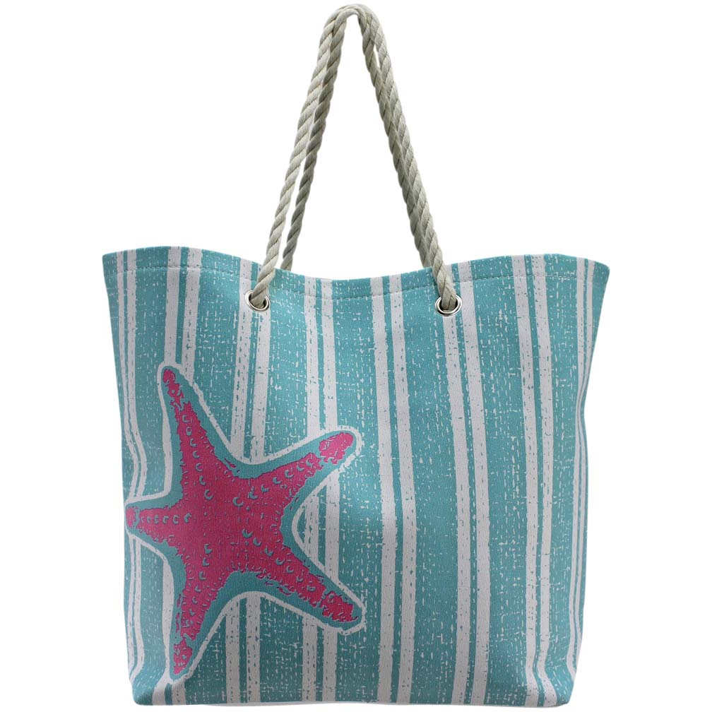 Luxury Divas Stripe Starfish Deluxe Oversize Beach Tote Bag ...