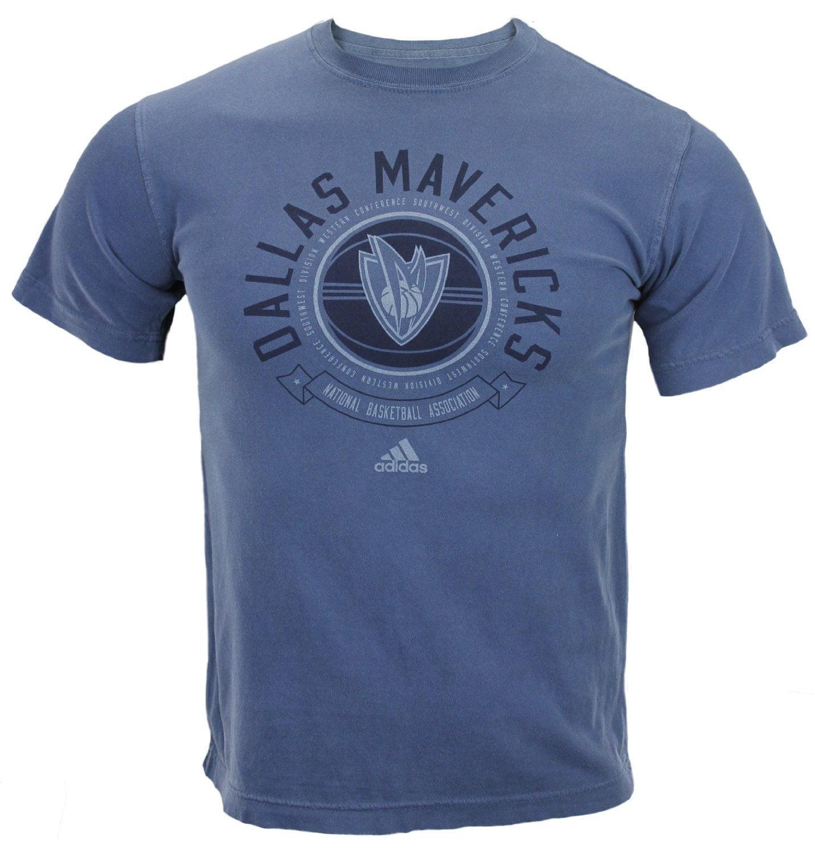 Adidas NBA Basketball Men's Dallas Mavericks Short Sleeve Pigment Dyed T-Shirt, Blue