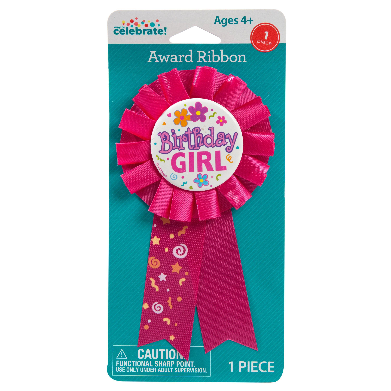 Birthday Girl Award Badge, Hot Pink, 1ct