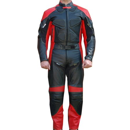 Perrini 2 PC Black & Red Spine Protector Cowhide Motorcycle Leather Suit Race Suit with Night Visibility Stitching](Cow Suit)