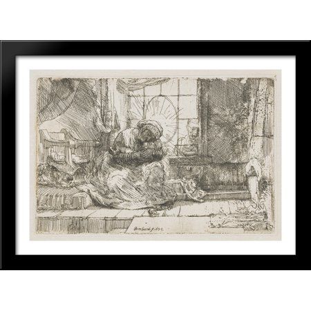 Rembrandt Cat Charm - The Virgin and the child with the cat and snake 40x28 Large Black Wood Framed Print Art by Rembrandt