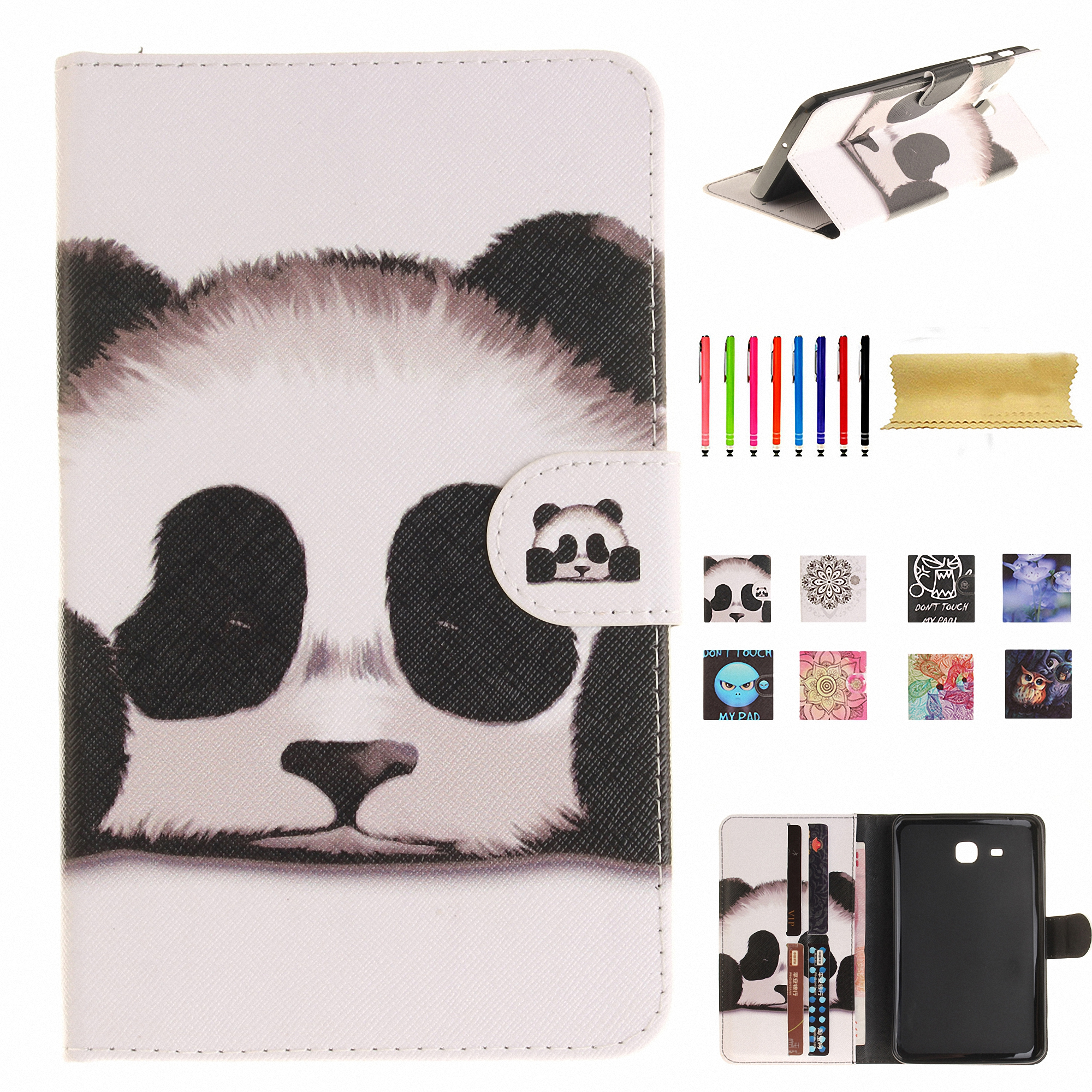 "Dteck For Samsung Galaxy Tab A 7.0"" SM-T280 Slim Protective Folio Flip Pattern Wallet Stand Case Cover Panda"