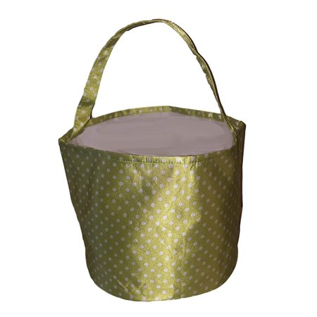 Personalized Childrens Satin Polka Dots Fabric Bucket Tote Bag - Toys- Easter (Green) Bride Polka Dot Tote