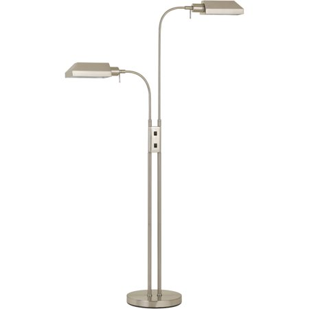 "Floor Lamps 2 Light Fixture With Brushed Steel Finish Metal Material E26 11"" 120 Watts"