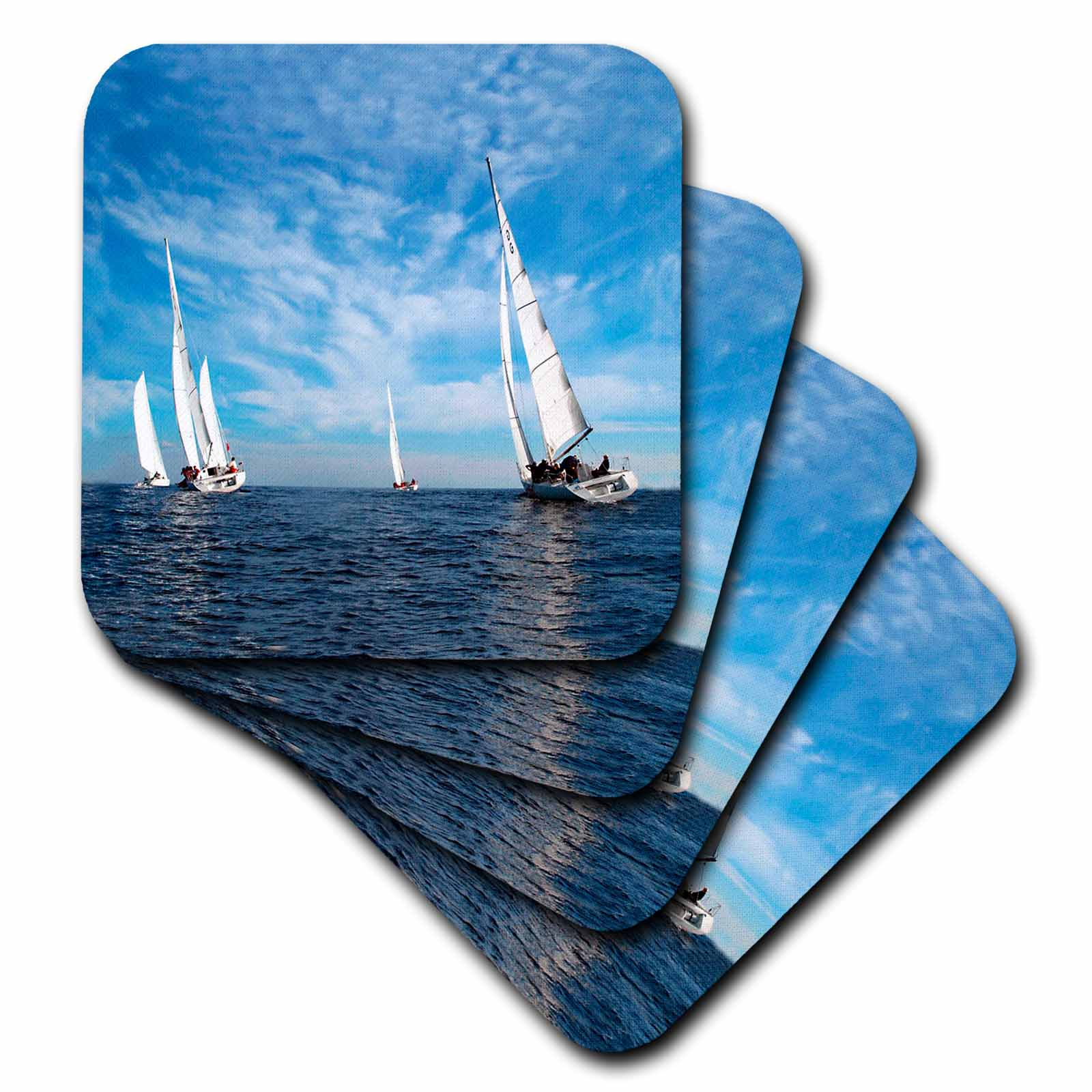 3dRose Sail Boats, Ceramic Tile Coasters, set of 4