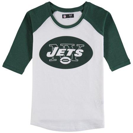 New York Jets 5th & Ocean by New Era Girls Youth 3/4-Sleeve Raglan T-Shirt -