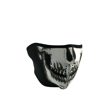 Zanheadgear WNFM002HG Half Mask Neoprene Glow In The Dark Skull Face (Cycle Products Skull Face Mask)
