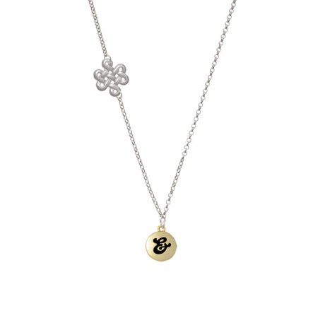 Capital Gold Tone Letter       Pebble Disc   Delicate Infinity Knot Necklace