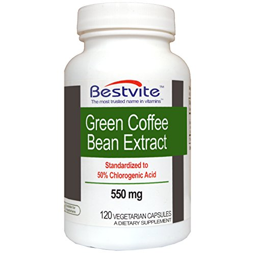 Green Coffee Bean Extract 550mg with 50% Chlorogenic Acid (120 Vegetarian Capsules)