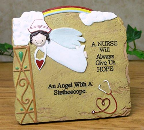 Nurse Gift Plaque - Inscribed with a Nurse Will Always Give Us Hope an Angel with a Stethoscope - Stone Look Desktop Size Easel Back