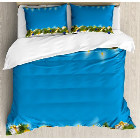 Christmas Duvet Cover Set, Spiral Design Coniferous Fir with Colorful Presents Pine Cones Festoon Spruce, Decorative Bedding Set with Pillow Shams, Multicolor, by Ambesonne ()