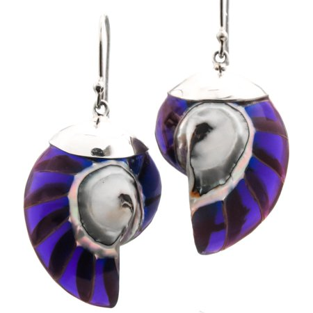 Silver Plated Resin - Natural Nautilus Ocean Shell Purple Resin Fill 925 Sterling Silver Earrings, 1 1/8