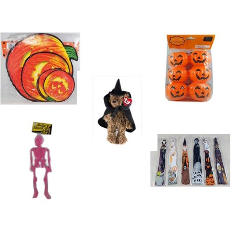 Halloween Fun Gift Bundle [5 Piece] - Classic Pumpkin Cutouts Set of 9 - Party Favors Pumpkin Candy Containers 6 Count - Ty Attic Treasures
