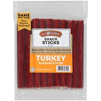 Old Wisconsin Turkey Sausage Snack Sticks, Naturally Smoked, Ready to Eat, High Protein, Low Carb, Keto, Gluten Free, 28 Ounce Resealable Package NEW