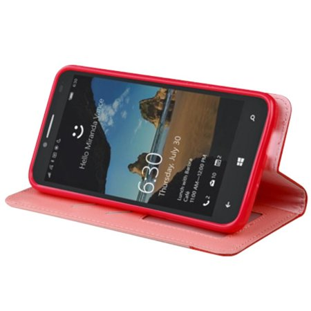 Insten Flip Leather Wallet Case Cover with Stand & Card slot For Alcatel One Touch Fierce XL - Pink/Red - image 3 de 5