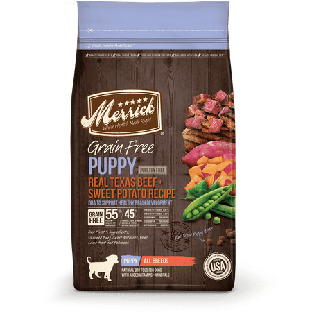 Merrick Grain-Free Real Beef & Sweet Potato Recipe Puppy Dry Dog Food, 25 (Merrick Beef)