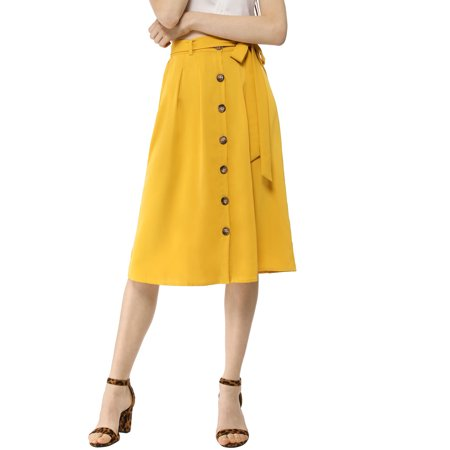 Women's Button Front High Waist Belted Flare - Belted Tulip Skirt