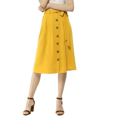 Women's Button Front High Waist Belted Flare Skirt