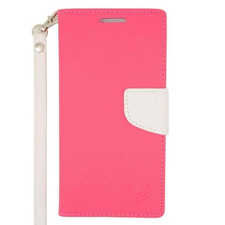 Insten Flip Wallet Leather Stand Case with Lanyard & Card slot For HTC Desire Eye - Pink/White ()