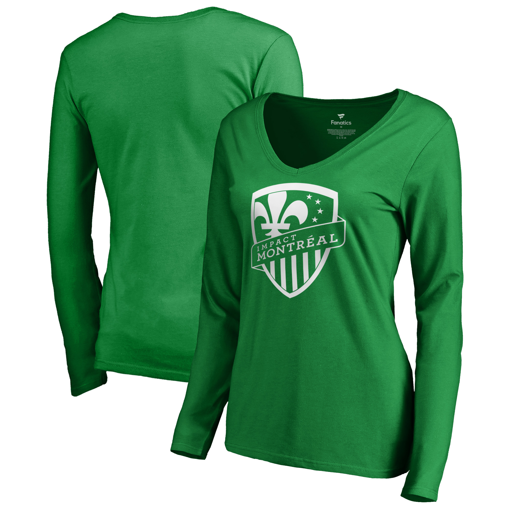 Montreal Impact Fanatics Branded Women's St. Patrick's Day White Logo Long Sleeve V-Neck T-Shirt - Kelly Green