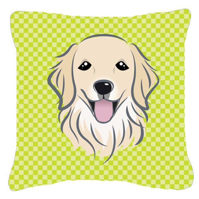Carolines Treasures BB1267PW1414 Checkerboard Lime Green Golden Retriever Fabric Decorative Pillow, 14 x 14 In. - image 1 of 1