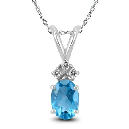 Genuine 1.00 Carat Natural 7x5mm Oval Shaped Swiss Blue Topaz with White Topaz Necklace In 925 Sterling (Diamond Shaped Conchos)