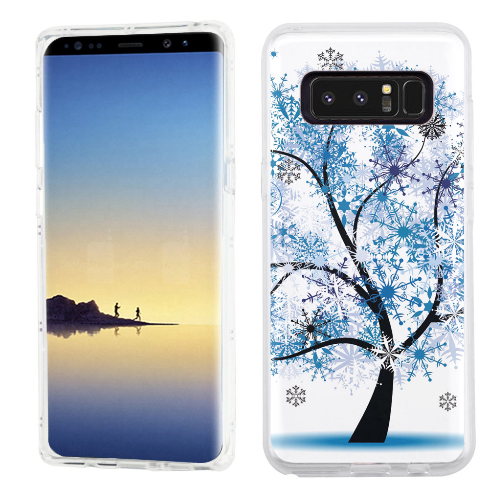 Slim-Fit case for Samsung Galaxy Note 8, OneToughShield ® TPU Gel Protector Phone Case - Snowflakes Tree