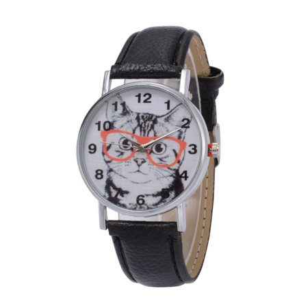 Cat Watch I Love My Cat Black Band Red Rim Glasses Animal Pet Lover Watch-125-B-000