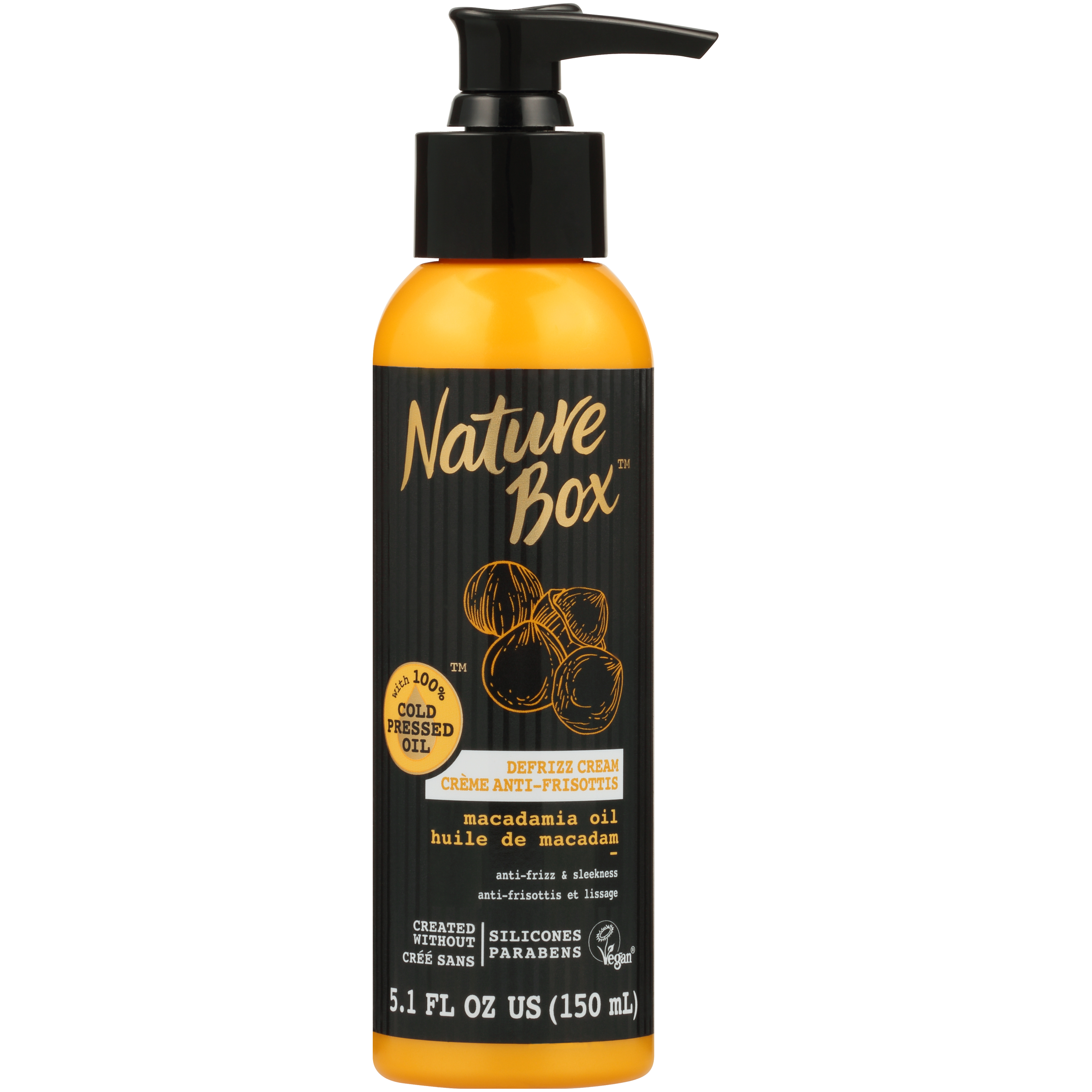 Nature Box Hair Defrizz Cream - for Anti-Frizz and Sleekness, with 100% Cold Pressed Macadamia Oil, 5.1 Ounce