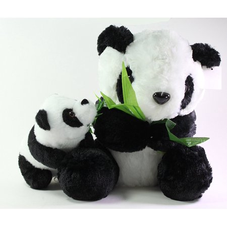 Set of 2~Sitting Mother Panda and Bear Cub Eating Bamboo Stuffed Plush Animal Toy Birthday Gift