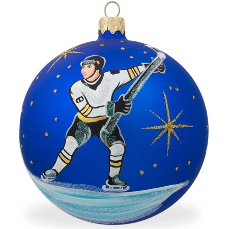 Hockey Player Glass Ball Christmas Sports Ornament 4 Inches
