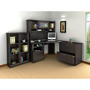"Bush Cabot 60"" Corner Computer Desk, Hutch, Lateral File and Bookcase Set, Espresso Oak"