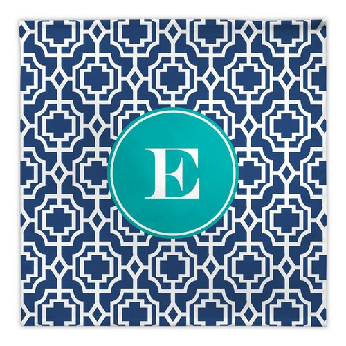 Whitney English Designer Lattice Single Initial Fabric Napkin (Set of 4)