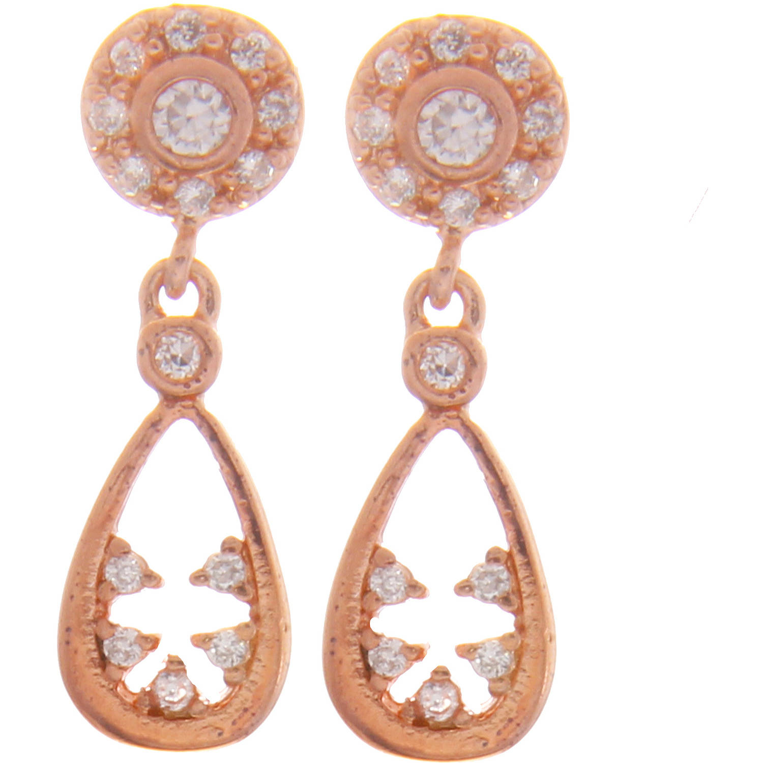 Angelique Silver CZ 18kt Rose Gold over Sterling Silver Teardrop Earrings