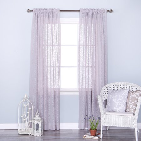 Best Home Fashion Vintage Leaves Burnout Sheer Rod Pocket Curtain