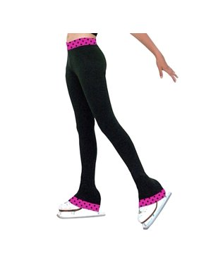 ChloeNoel Black Fuchsia Dot Ice Skating Pants Girls 5-12 Adult XS-XL