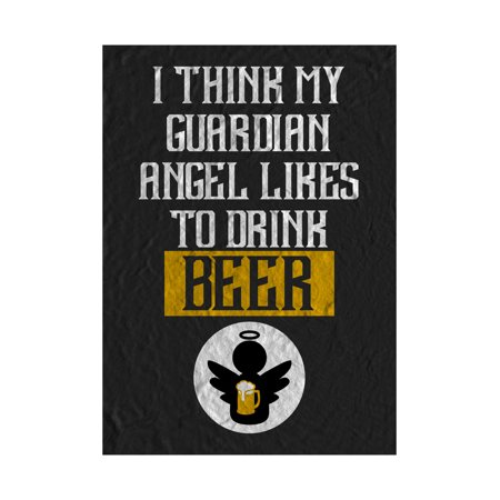 I Think My Guardian Angel Like To Drink Beer Print Angel With Foaming Mug Picture Fun Drinking Humor Bar Wall Decorati