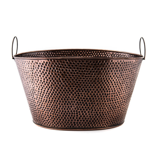 18.5 x 15 x 10.5 Oval Antique Hammered Copper Party Tub 8 Gallons