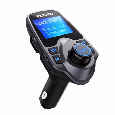 """VicTsing Bluetooth FM Transmitter for Car,Wireless Bluetooth Radio Transmitter Adapter with Hand-Free Calling and 1.44"""" LCD Display,Music Player Support TF ..."""