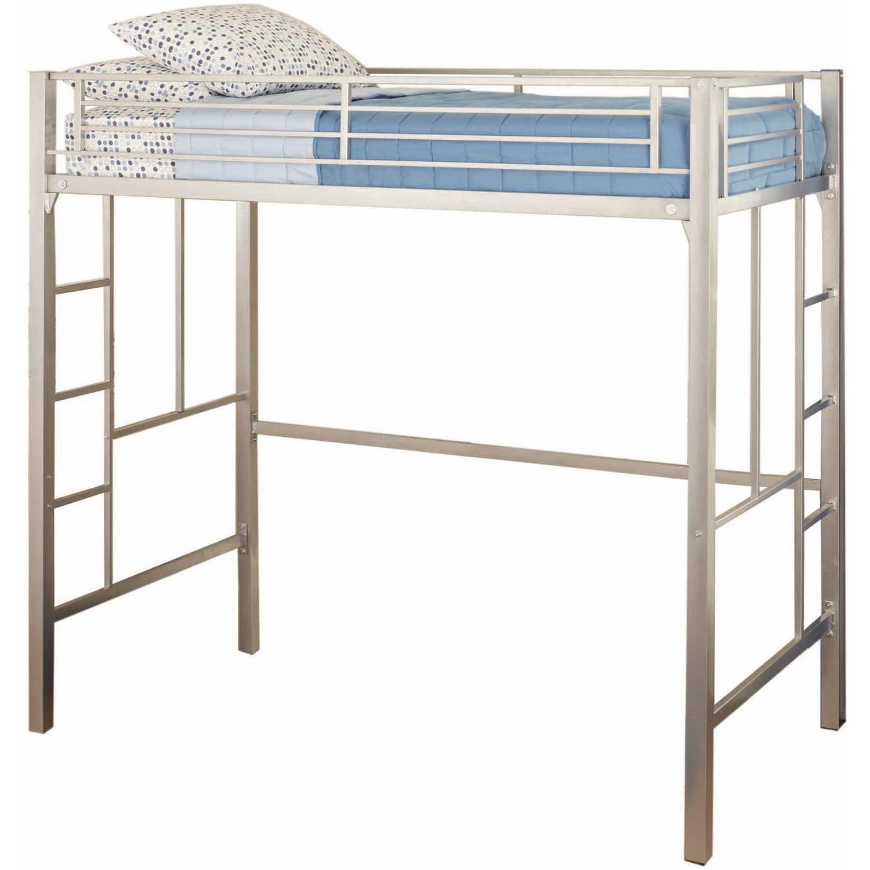 your zone twin metal loft bed multiple colors walmartcom - Metal Frame Loft Bed