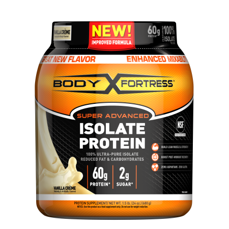 Body Fortress--Super Advanced Isolate Protein, Vanilla--Protein Powder Supplement-- Reduced Fat & Carbohydrates, --1-1.5lb.
