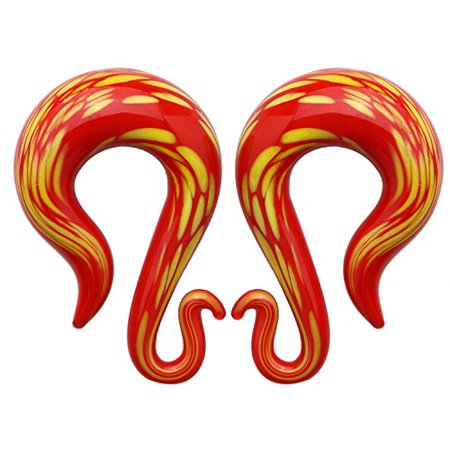 - BodyJ4You 2PC Glass Ear Tapers Hanger Plugs 00G Lava Red Twist Gauges Piercing Jewelry