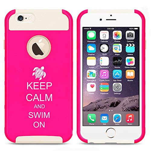 For Apple iPhone 7 Shockproof Impact Hard Soft Case Cover Keep Calm And Swim On Sea Turtle (Hot Pink-White)