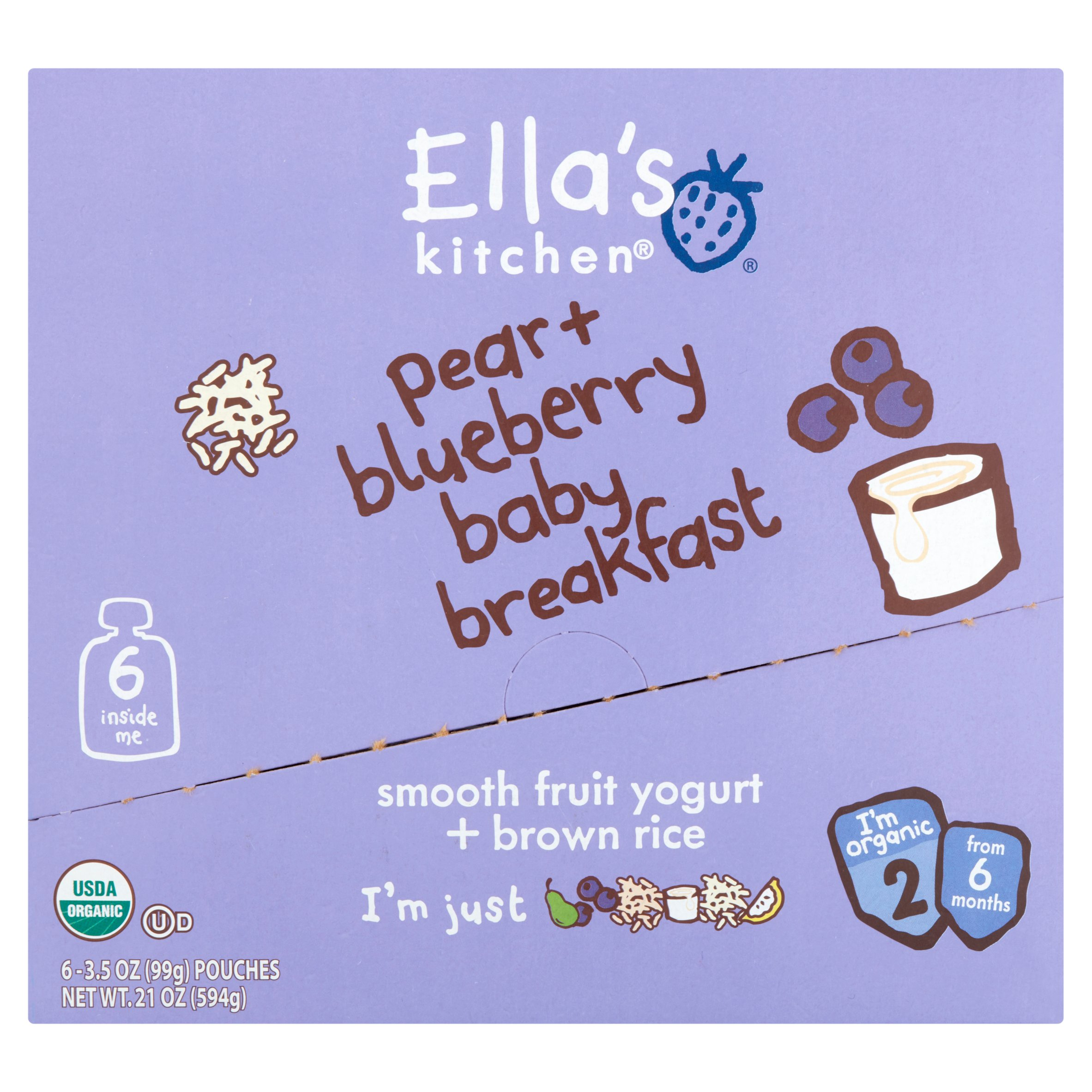 Ella's Kitchen Organic Pear + Blueberry Baby Brekkie Stage 1 Baby Food, 3.5 oz (Pack of 6)