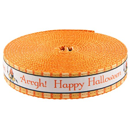 Country Brook Design® 1 Inch Pirate Halloween Ribbon on Orange Webbing Closeout, 5 Yards - Halloween Closeout