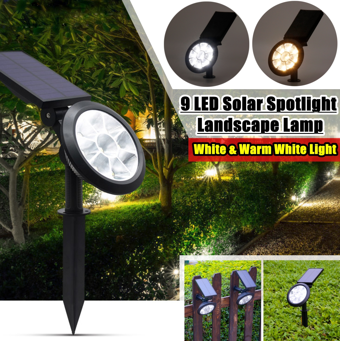 1 Pcs 9 Led Solar Landscape Spotlights Ip67 Waterproof Solar Powered Wall Lights 2 In 1 Wireless Outdoor Solar Landscaping Light For Yard Garden Driveway Porch Walkway Pool Patio Walmart Com Walmart Com