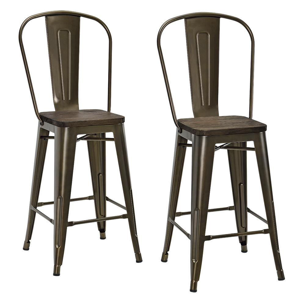 Superb Dhp Luxor 24 Metal Counter Stool With Wood Seat Set Of 2 Forskolin Free Trial Chair Design Images Forskolin Free Trialorg