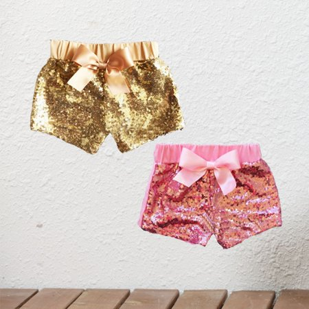 Toddler Baby Girls Bowknot Party Sparkle Sequin Shorts Kids Bottoms Pants Summer](Silver Sequin Shorts)