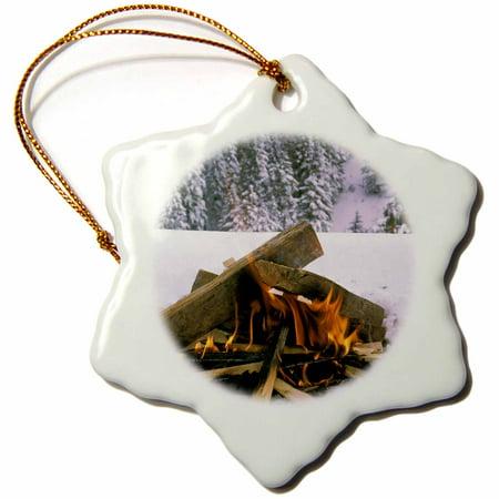 3dRose Camping in Winter snow - LI06 DFR0012 - David R. Frazier - Snowflake Ornament, 3-inch